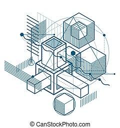 carrés, maille, formes, hexagones, vecteur, elements., linéaire, arrière-plan., différent, conception, résumé, figures, isométrique, cubes, 3d, rectangles
