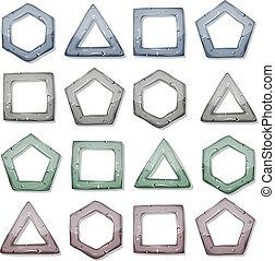 carrés, pierre, ensemble, formes, autre, triangles