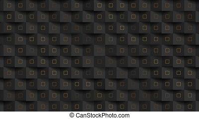 carrés, résumé, fond, doré, mouvement, mosaïque, noir