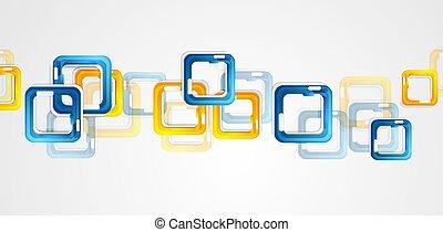 carrés, résumé, jaune, arrière-plan bleu, géométrie