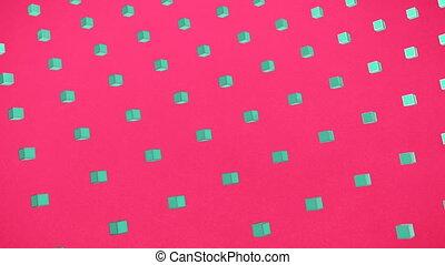 carrés, rose, 3d, turquoise, fond