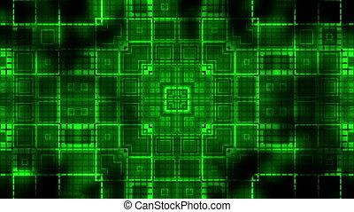 carrés, vj, cg, pouls, faire boucle, arrière-plan vert, géométrique, animé