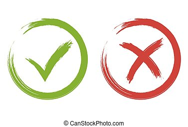 carrapato, e, crucifixos, signs., verde, e, vermelho, checkmark, vetorial