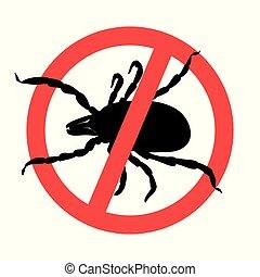 carrapato, símbolo, sinal, parasita, aviso, parasites., mite, silhouette.