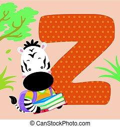 carreau, alphabet, lire, zebra