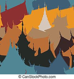 carreau, bâtiments, bouddhiste