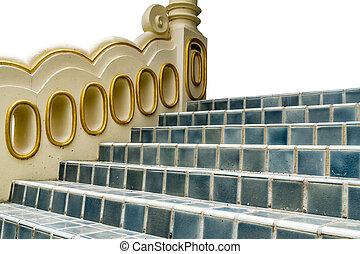 carreau, béton, escalier