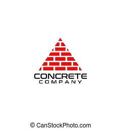 carreau, compagnie, vecteur, conception, brique, logo, gabarit