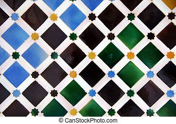 carreau, décoration, palais, alhambra, espagne