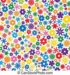 carreau, fleur, coloré