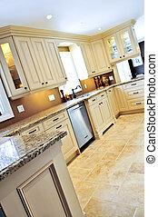carreau, moderne, cuisine, plancher