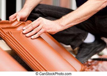 carreau, nouveau, carreleur, toit, couverture