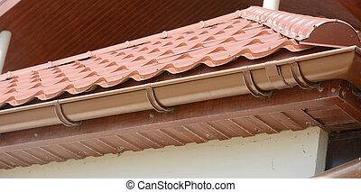 carreau, pluie, chevrons, soffit, maison, gutter., installed...
