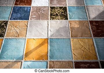carreau, plunch, coloré, plancher