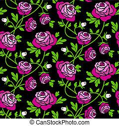 carreau, roses, noir