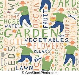 carreau, seamless, jardinier