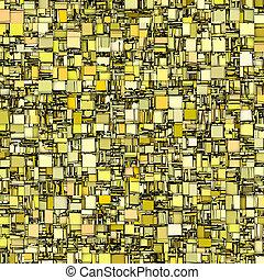 carreau, toile de fond, résumé, mosaïque, jaune