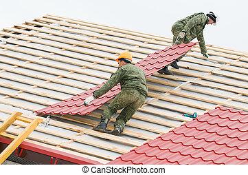 carreau, toiture, travail, métal