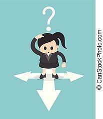carrefour, direction, signes, confondu, position femme, concept affaires