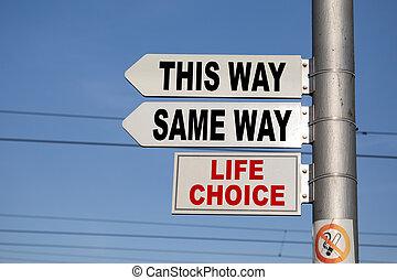 carrefour, poteau indicateur, proverbe, façon, même, manière, confusion, ou, décisions