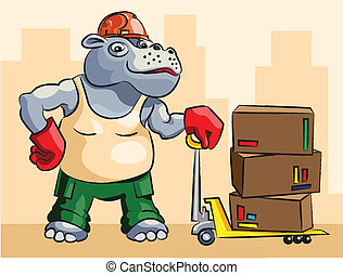carregador, hipopótamo, -