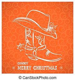 carregador vaqueiro, ocidental, feliz, chapéu, natal