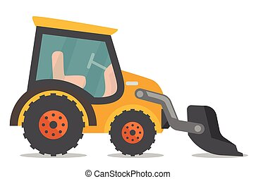 carregador, vetorial, illustration., escavador, caricatura
