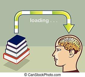 carregando, conhecimento, de, livros