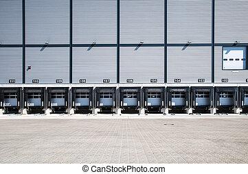 carregando, estação, caminhão
