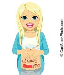 carregando, mulher, bebê, grávida, sorrindo