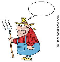 carregar, agricultor, feliz, homem, ancinho