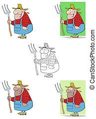carregar, ancinho, afortunado, homem, agricultor