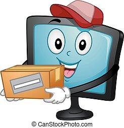 carregar, caixa, entregar, monitor, mascote