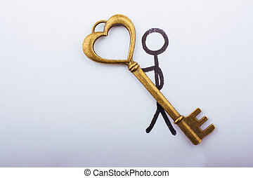 carregar, coração, estilo retro, dado forma, tecla, homem, amor, conceito
