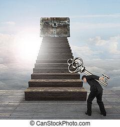 carregar, entesoure tórax, madeira, tecla, direção, escadas, homem