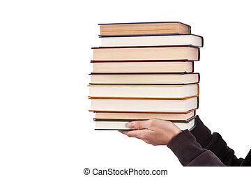 carregar, livros, adulto jovem