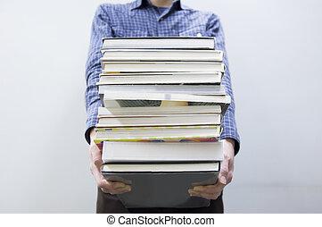 carregar, livros, homem