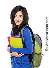 carregar, livros, jovem, estudante, feliz