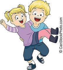 carregar, menino, menina, crianças, irmã