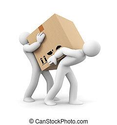 carregar, pesado, caixa, pessoas