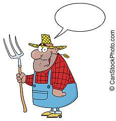 carregar, pretas, agricultor, homem, ancinho