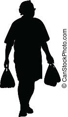 carregar, sacolas, silhoue, homem