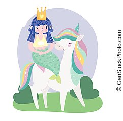 carregar, sereia, fantasia, arco íris, sonho, cabelo, unicórnio, caricatura