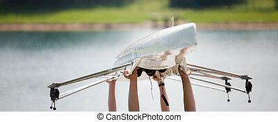 carregar, seu, bote, rowers