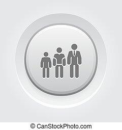 carreira, botão, cinzento, crescimento, icon., design.