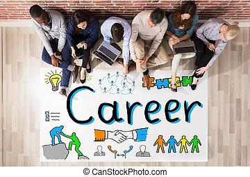 carreira, conceito, businesspeople