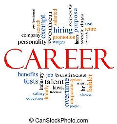 carreira, conceito, palavra, nuvem
