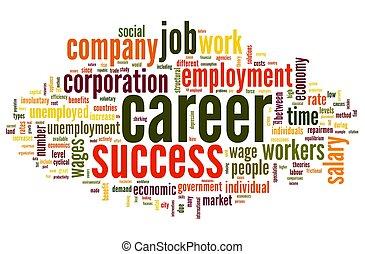 carreira, conceito, palavra, nuvem, tag