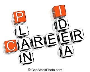 carreira, crossword, plano, idéia