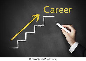 carreira, desenho, escadas, tábua, mão